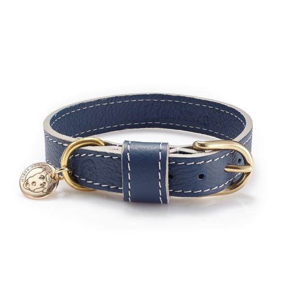 Lederhalsband Blue