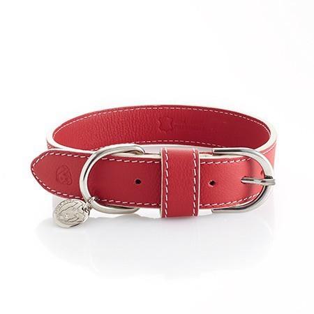 Lederhalsband Rot